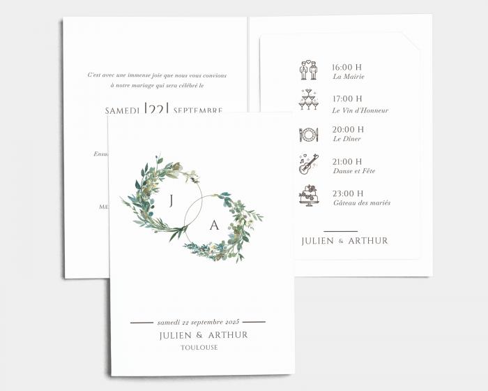 Leafy Hoops - Faire-Part mariage avec insert