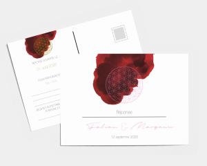 Flower of Life - Carte-réponse pour mariage (horizontale)