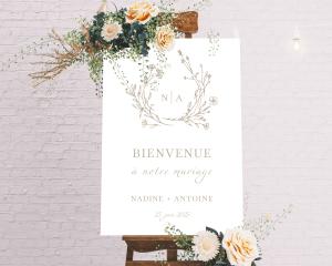 Natural Monogram - Panneau de bienvenue mariage (vertical)