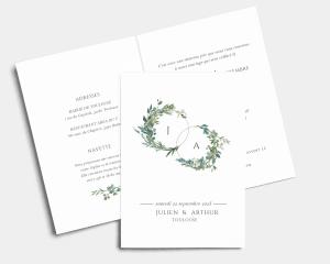 Leafy Hoops - Faire-part mariage Carte pliante (verticale)