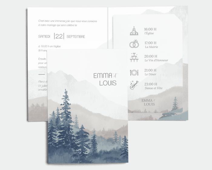Painted Mountains - Faire-Part mariage avec insert