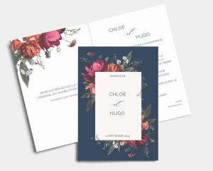 Blooming Botanical - Faire-part mariage Carte pliante (verticale)