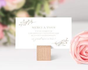 Natural Monogram - Carte de remerciements mariage petit format