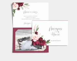 Beloved Floral - Carte de remerciements mariage avec Photo