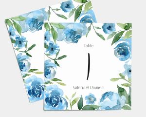 Blue Romance - Numéros de table carré ensemble 1-10
