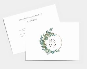 Leafy Hoops - Carte-réponse pour mariage (horizontale)