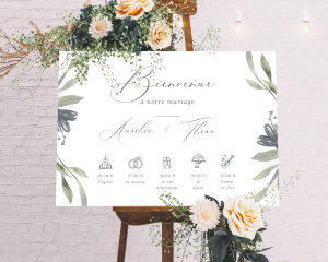 Muted Floral - Panneau de bienvenue mariage