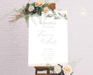 Dusted Calligraphy - Panneau de bienvenue mariage (vertical)