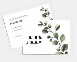 Leafy - Carte-réponse pour mariage (horizontale)
