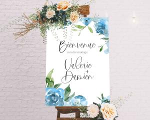 Blue Romance - Panneau de bienvenue mariage (vertical)