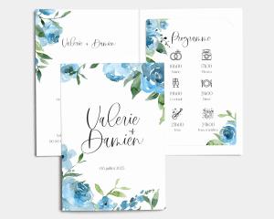 Blue Romance - Faire-Part mariage avec insert