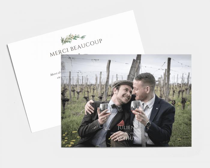 Leafy Hoops - Carte de remerciements mariage petit format