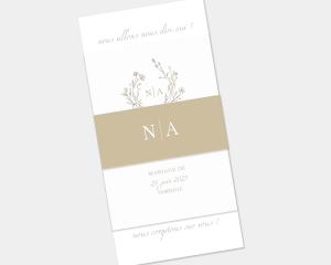 Natural Monogram - Faire-Part mariage 3 ensemble