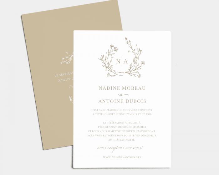 Natural Monogram - Carte d´invitation au mariage (verticale)