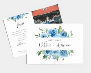 Blue Romance - Carte de remerciements mariage petit format
