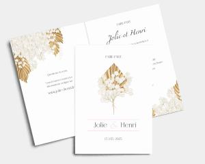 Ivory Luna - Faire-part mariage Carte pliante (verticale)