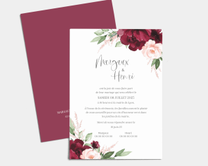 Beloved Floral - Carte d´invitation au mariage (verticale)