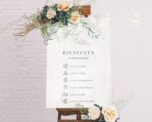 Natural Laurel - Panneau de bienvenue mariage (vertical)