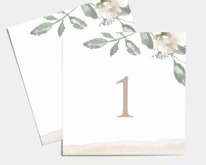 Dusted Calligraphy - Numéros de table carré ensemble 1-10