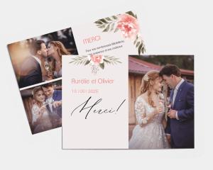 Aurora - Carte de remerciements mariage petit format