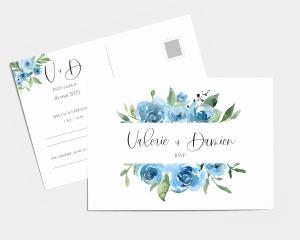 Blue Romance - Carte-réponse pour mariage (horizontale)
