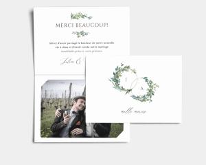 Leafy Hoops - Carte de remerciements mariage avec Photo