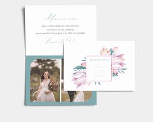 Blumengold - Carte de remerciements mariage avec Photo