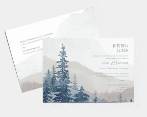 Painted Mountains - Carte d´invitation au mariage (horizontale)
