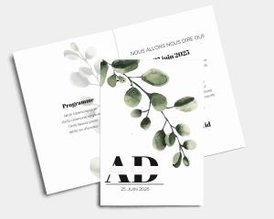 Leafy - Faire-part mariage Carte pliante (verticale)