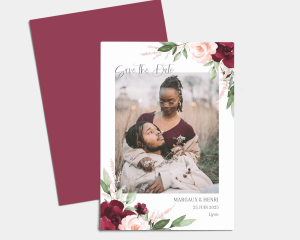Beloved Floral - Save the Date carte mariage (vertical)