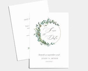 Leafy Hoops - Save the Date carte mariage (vertical)