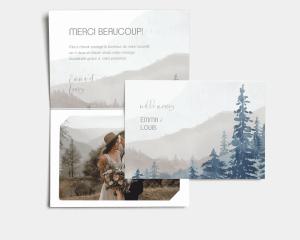 Painted Mountains - Carte de remerciements mariage avec Photo
