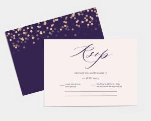 Elegant Glow - Carte-réponse pour mariage (horizontale)