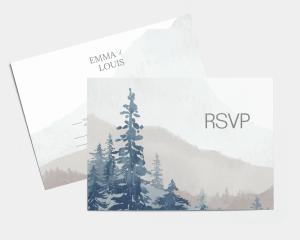 Painted Mountains - Carte-réponse pour mariage (horizontale)