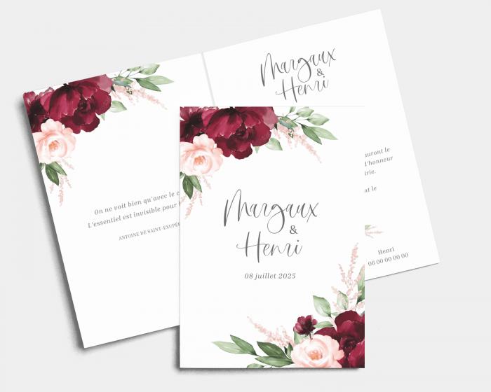 Beloved Floral - Faire-part mariage Carte pliante (verticale)