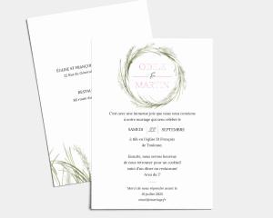 Erba della Pampas - Carte d´invitation au mariage (verticale)