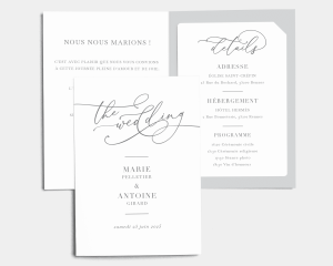 Romantic Calligraphy - Faire-Part mariage avec insert
