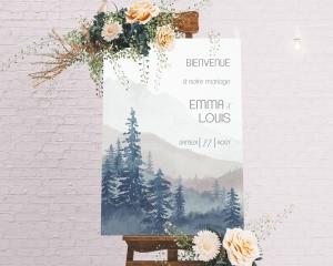 Painted Mountains - Panneau de bienvenue mariage (vertical)