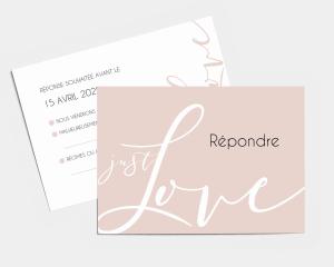 Just - Carte-réponse pour mariage (horizontale)