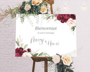Beloved Floral - Panneau de bienvenue mariage