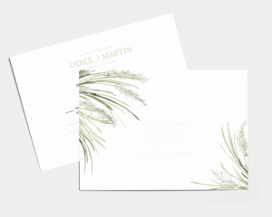 Erba della Pampas - Carte-réponse pour mariage (horizontale)