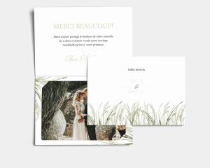 Erba della Pampas - Carte de remerciements mariage avec Photo
