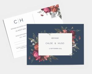 Blooming Botanical - Carte-réponse pour mariage (horizontale)