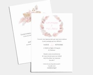 Bohemian - Carte d´invitation au mariage (verticale)