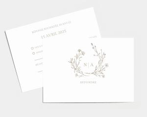 Natural Monogram - Carte-réponse pour mariage (horizontale)