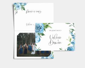 Blue Romance - Carte de remerciements mariage avec Photo