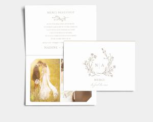 Natural Monogram - Carte de remerciements mariage avec Photo