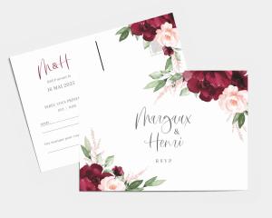 Beloved Floral - Carte-réponse pour mariage (horizontale)