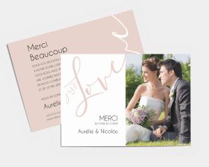 Just - Carte de remerciements mariage petit format