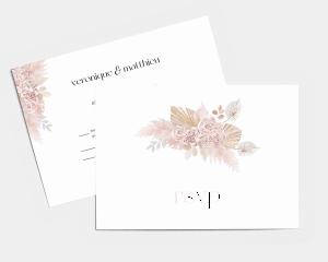 Bohemian - Carte-réponse pour mariage (horizontale)